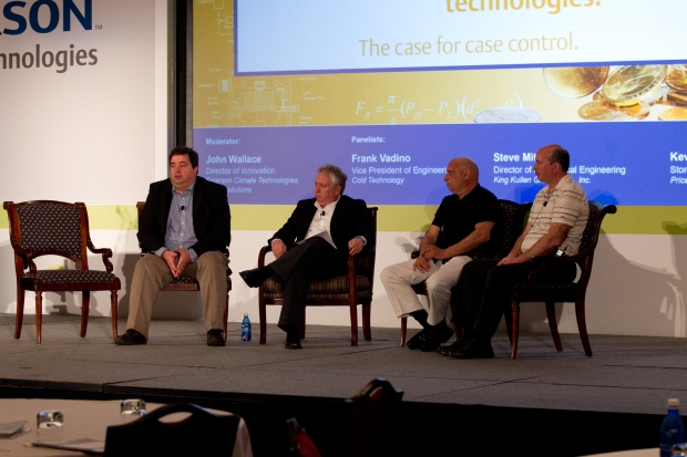 John Wallace (second on left) of Emerson Climate Technologies moderates a panel discussion on case control with retail end users (L to R): Steve Mitchell of King Kullen, Frank Vadino of Cold Technology and Kevin St. Phillips of Price Chopper.